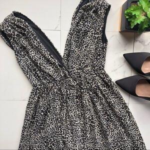 H&M Black & Brown Leopard Print V Neck Maxi Dress